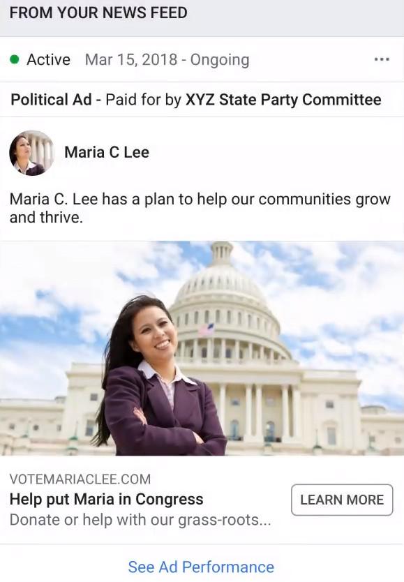 Facebook polityczna reklama