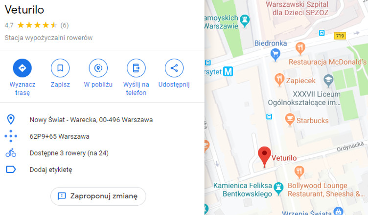 google maps veturilo