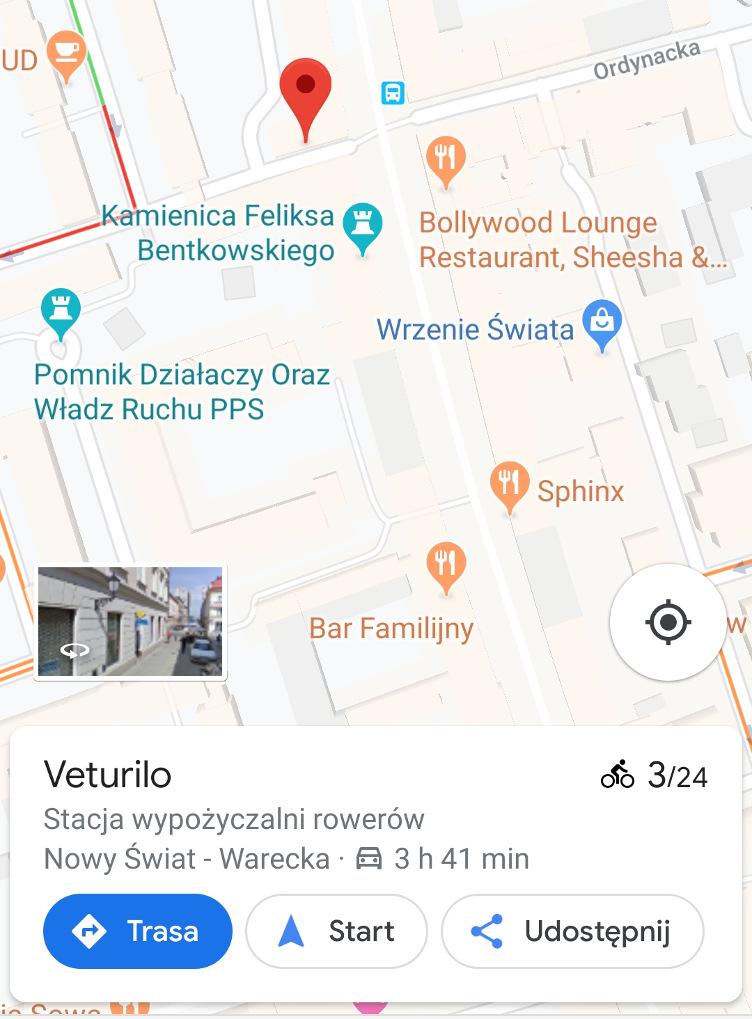 Veturilo na mapach google